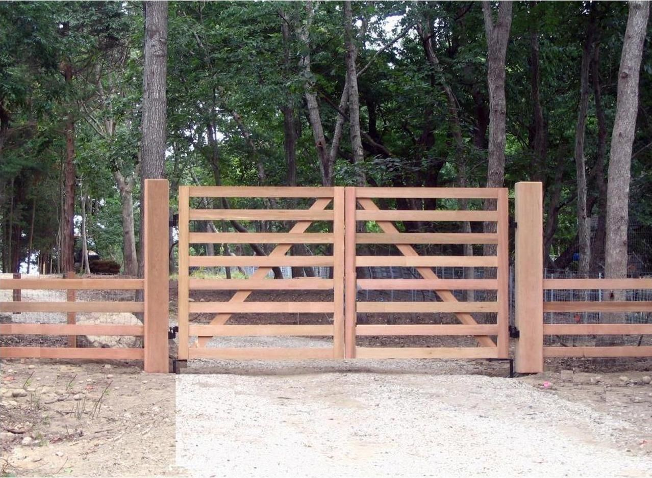 A Simple Wood Gate To Allow Automated Entry For Farm Equipment And Animals By Tri State Gate New York Wooden Gates Driveway Driveway Gate Diy Driveway Gate