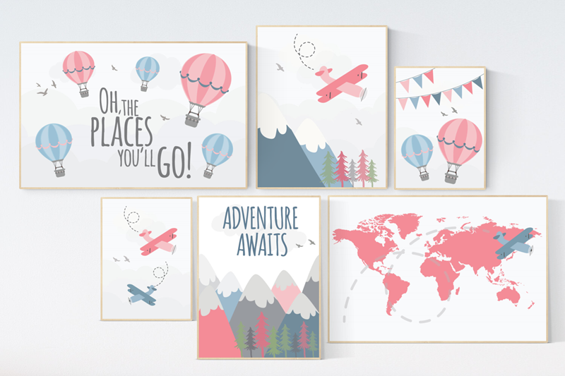 Nursery Decor Girl Adventure Adventure Awaits Girl Nursery Etsy Hot Air Balloon Nursery Adventure Theme Nursery Travel Theme Nursery