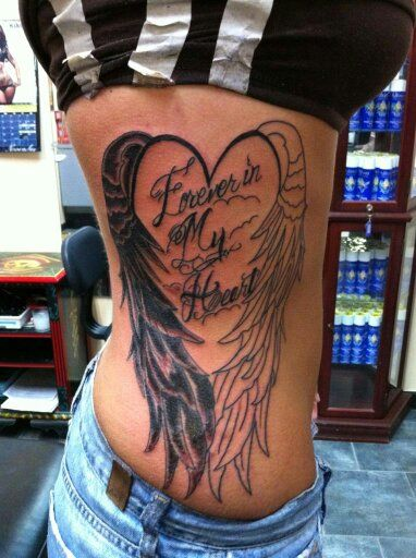 Angel wings forever in my heart in memory tattoo in for Angel tattoos in memory of
