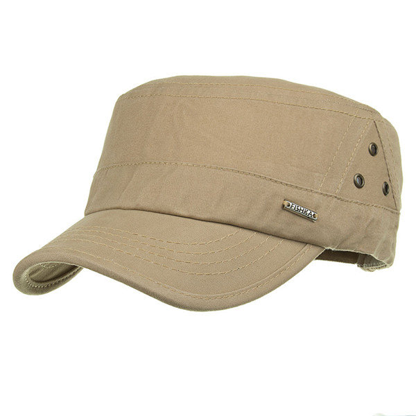 Mens Outdoor Sunshade Cotton Military Cap Casual Adjustable Flat Top Hat With Three Breathable Holes Mens Caps Military Cap Hats For Men