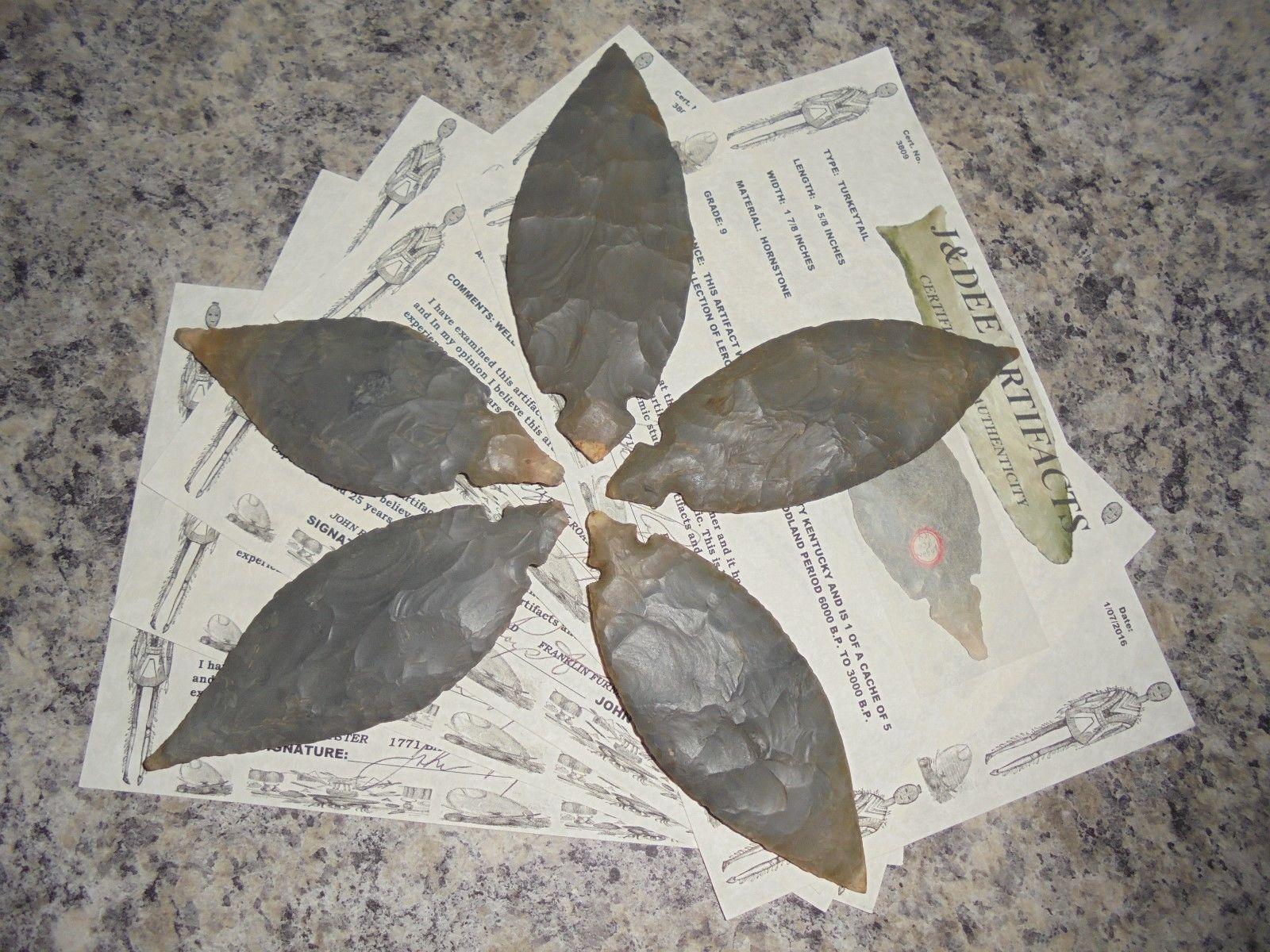 Grade 10 Turkeytail 5 Cache Arrowheads  COA Papers: Logan Co