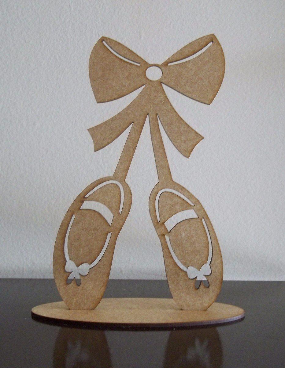 089cf1d118 kit com 5 sapatilhas de bailarina 20cm em mdf cru