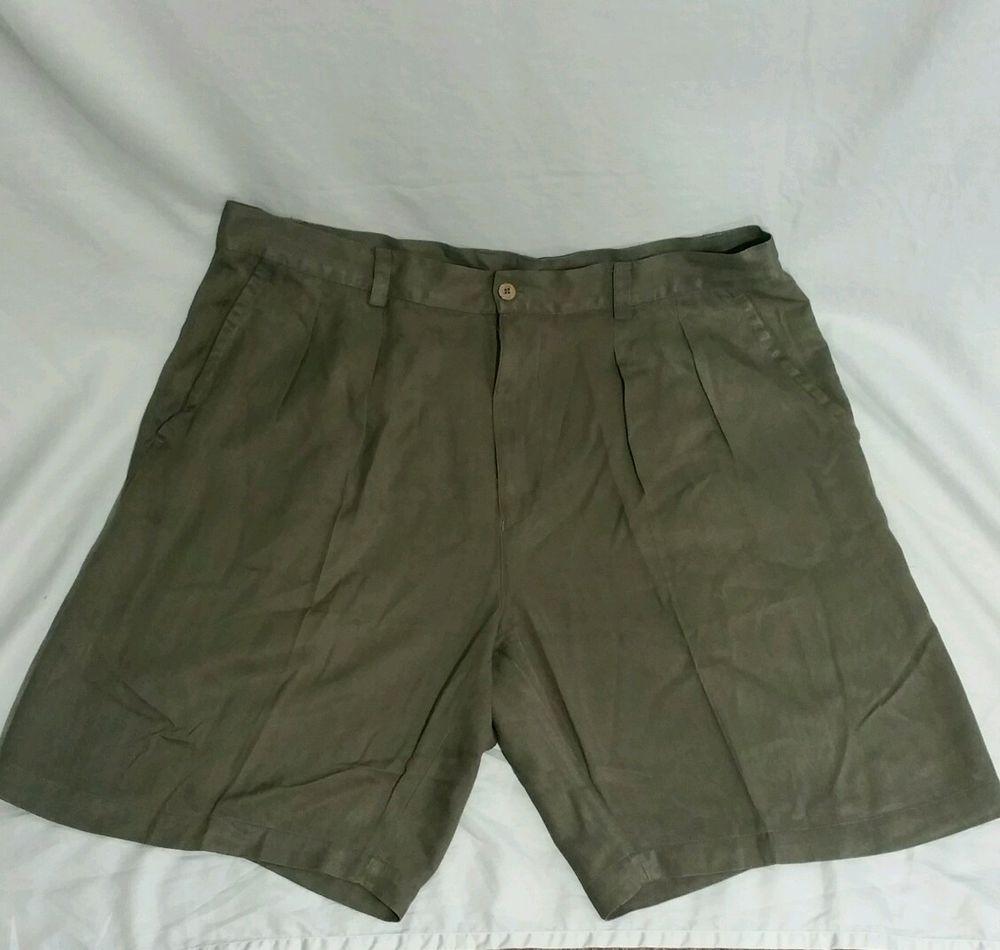 TOMMY BAHAMA Relax Mens 38 Silk Shorts dark green shimmer  #TommyBahama #CasualShorts