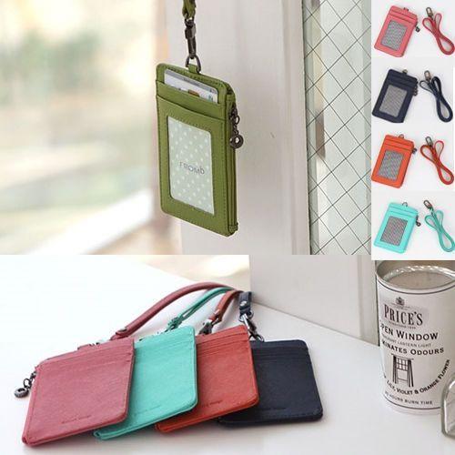 Leather Id Card Holder Wallet Credit Card Badge Necklace Strap Lanyard Korea Nv Card Holder Leather Card Holder Wallet Lanyard Wallet