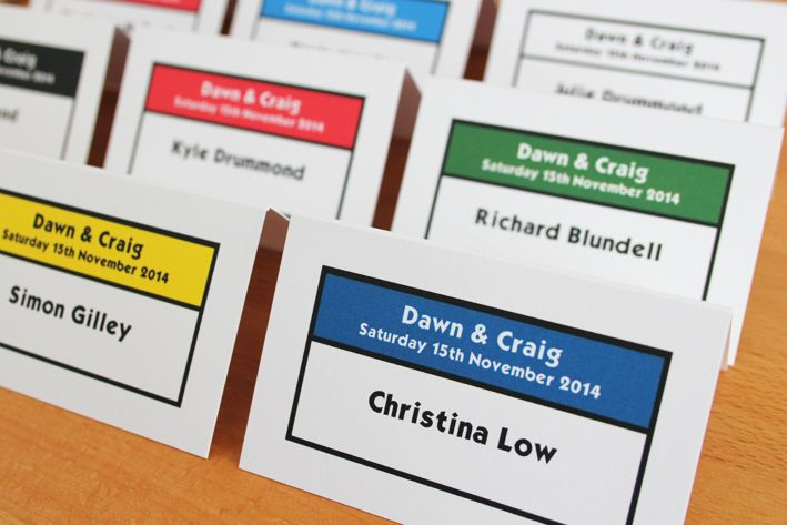 Monopoly Place Cards In Lots Of Colours Wedding Invitations Uk Handmade Wedding Invitations Wedding Favor Table