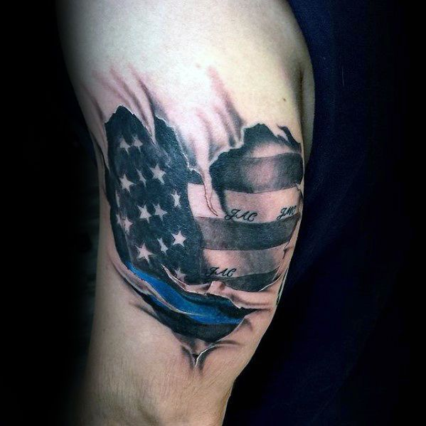 50 Thin Blue Line Tattoo Designs For Men Symbolic Ink Ideas Les