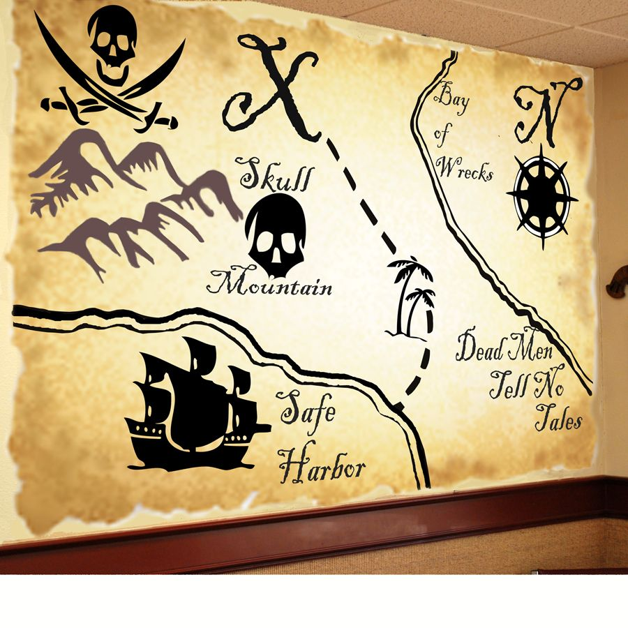 map mural - except I\'d use the map of Neverland | Logan\'s room ...