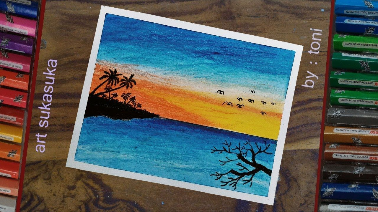 sunset/matahari tenggelam, cara gambar pemandangan pantai