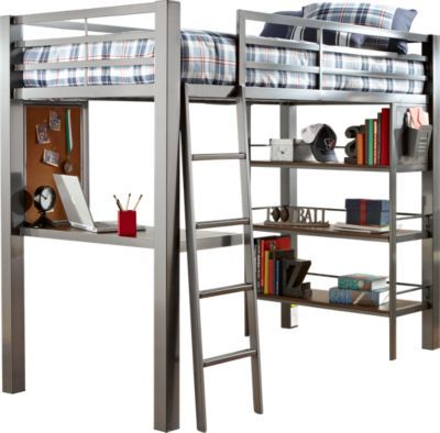Louie Gray Twin Loft Bed With Desk And Bookcase Kids