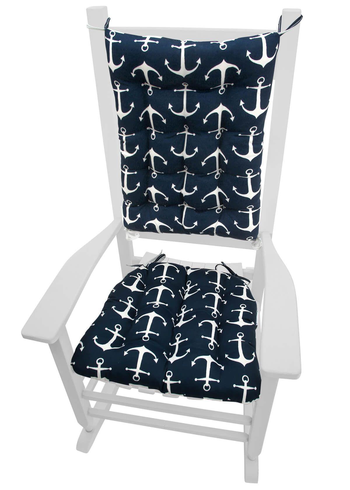 Sailoru0027s Anchor Navy Blue Porch Rocker Cushions   Latex Foam Fill   Fade  Resistant