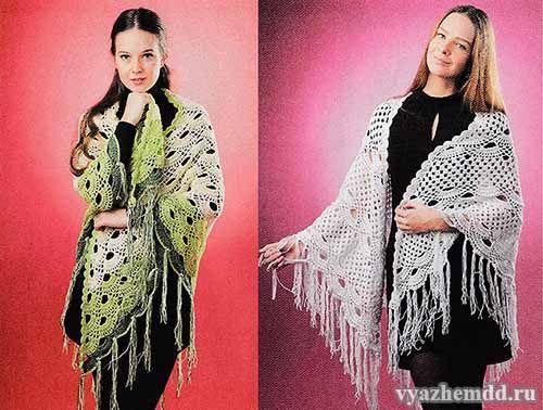 узоры для вязания ажурных шалей