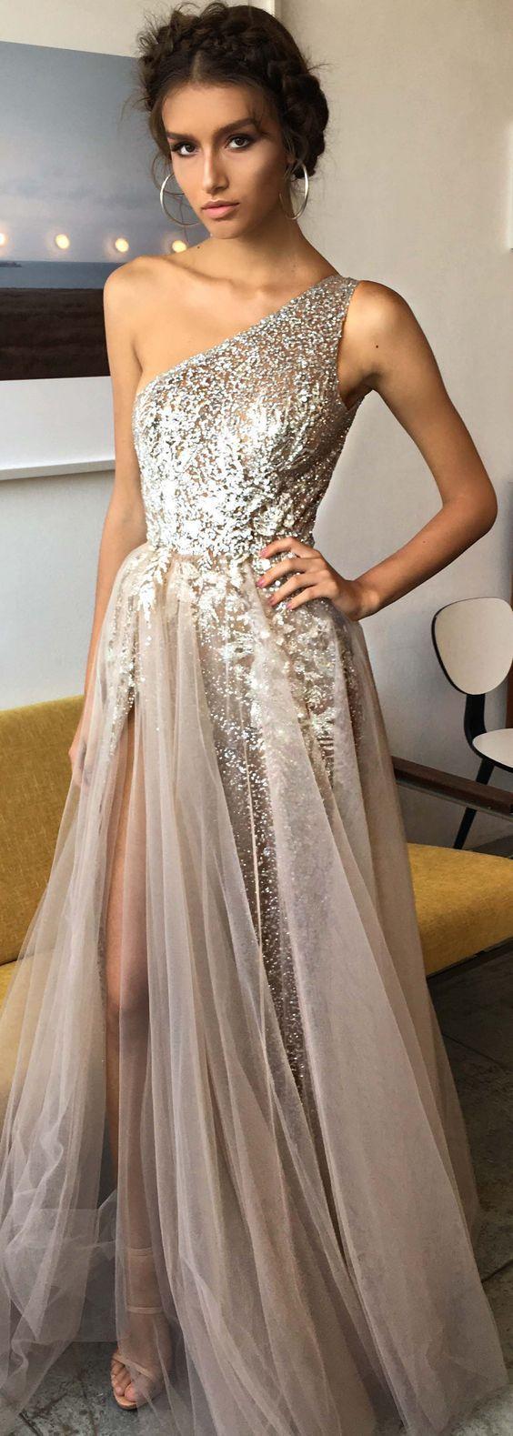 One shoulder shinning side split elegant long prom dresses m
