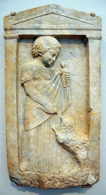 Unknown artist grave stele of a young girl melisto c for Graue stuhle