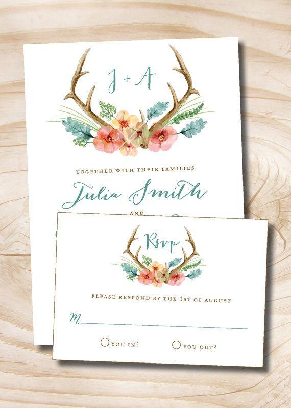10 floral wedding invitations editors etsy picks wedding rustic floral antlers wedding invitation etsy store paper heart company stopboris Images