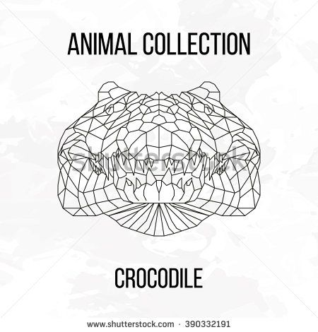 Crocodile head geometric lines silhouette isolated on