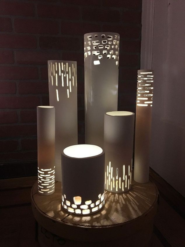 turn pvc pipes into luminaries in 2018 home decor crafts ideas pinterest beleuchtung. Black Bedroom Furniture Sets. Home Design Ideas
