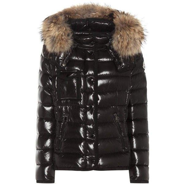moncler black down & fur armoise jacket
