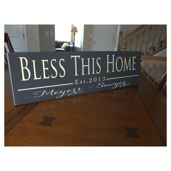Personalized Established Sign Family Name Sign Bless Home Sign-7'x24' ($40) ❤ liked on Polyvore featuring home, home decor, wall art, black, home & living, home décor, wall décor, vinyl signs, photo plaques and word wall art