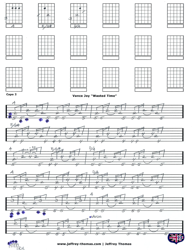 Wasted Time By Vance Joy Here Is The Guitar Tab For Pg1 Of This