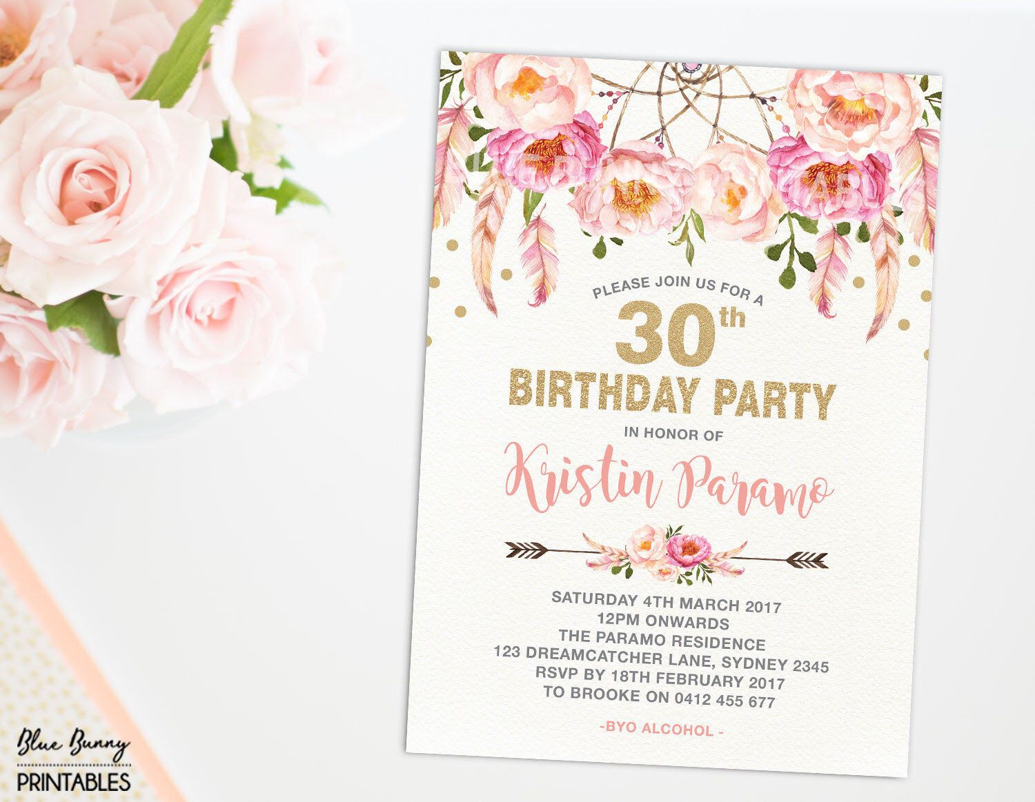 Boho 30th Birthday Invitation. 16th 21st 40th 50th 60th 70th Pink ...