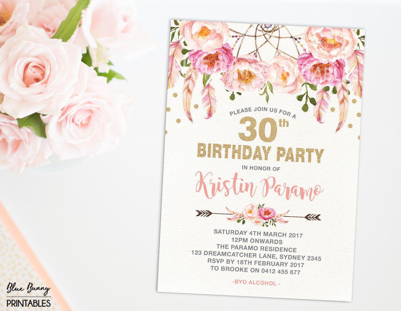 Boho 30th Birthday Invitation 16th 21st 40th 50th 60th 70th Pink Gold Party Invite