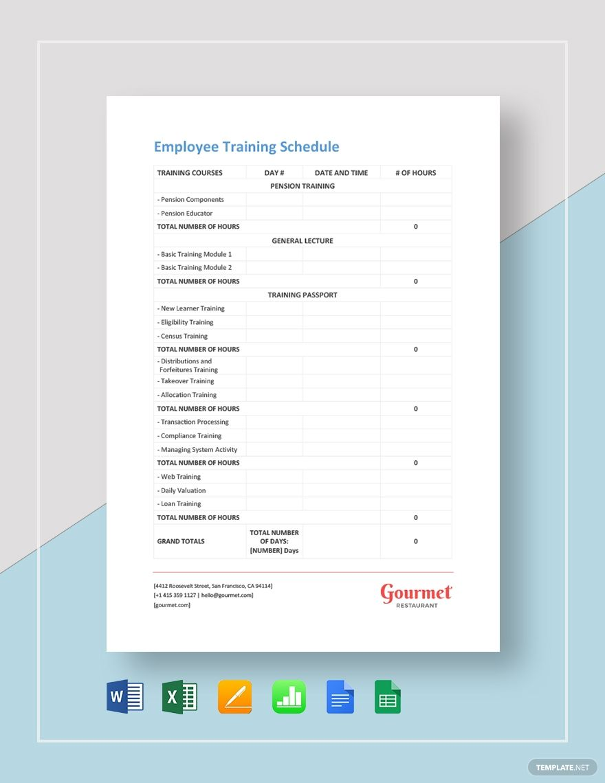 Instantly Download Restaurant Employee Training Schedule Template Sample Example In Microsoft Word Do In 2020 Employee Training Schedule Template Training Schedule Training agenda template microsoft word