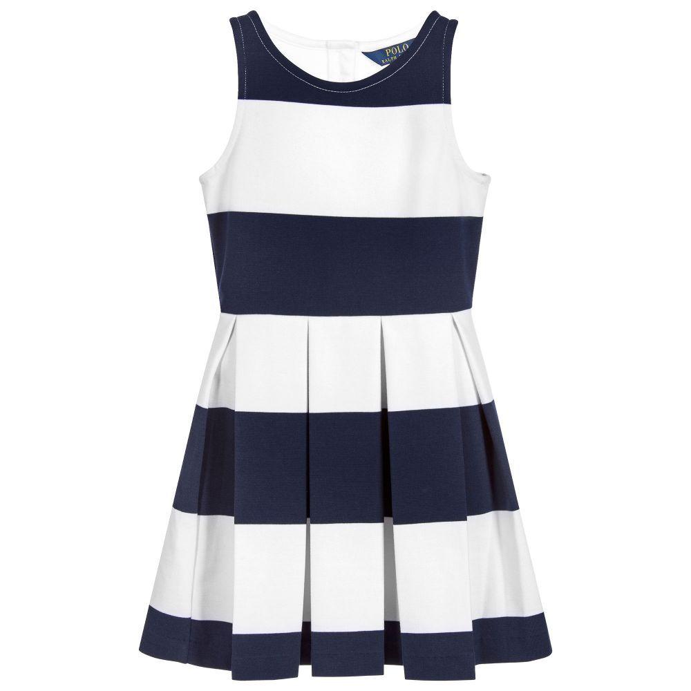 Girls Blue & White Striped Jersey Dress