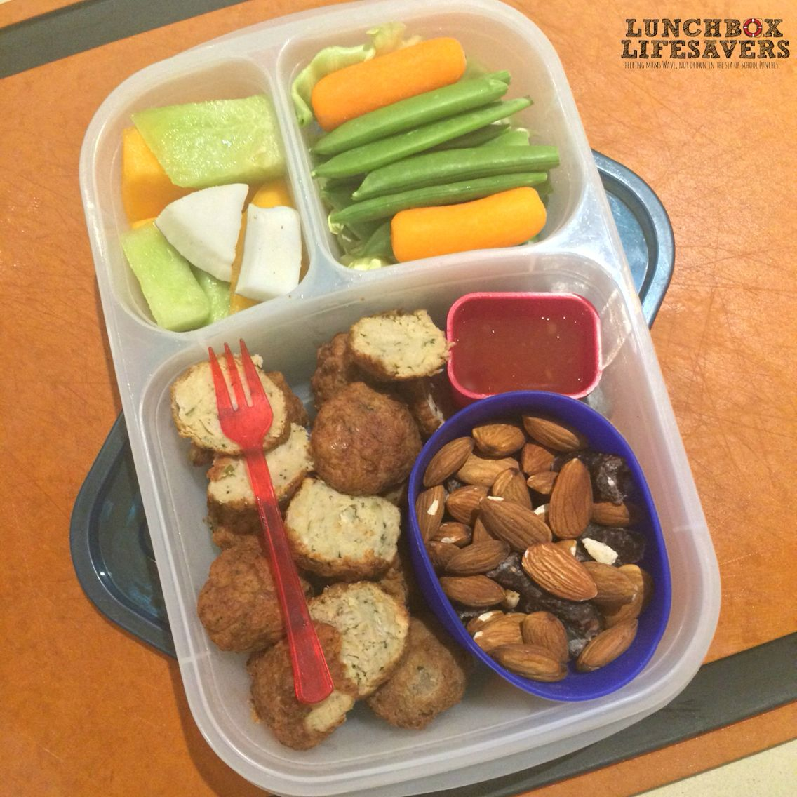 Oh my word! Where do active teenage boys put all this?!! This protein-packed lunch was prepped under Tyson's guidance last night for a busy day today.  *** Frikadels, nuts & dry wors sausage, with fruit & veg. And there's a bag of popcorn to snack on for before his afternoon sport!! #ActiveGrowingKidsNeedFuel ⚽️⛳️