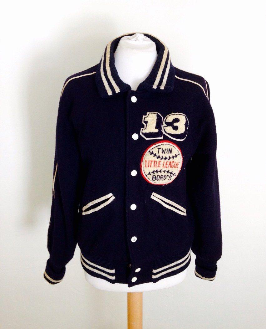 1960s Vintage Baseball Jacket Number 13 Small Ladies Bomber Jacket Letterman Jacket In Navy And White Wo Bomber Jacket Women Baseball Jacket Letterman Jacket