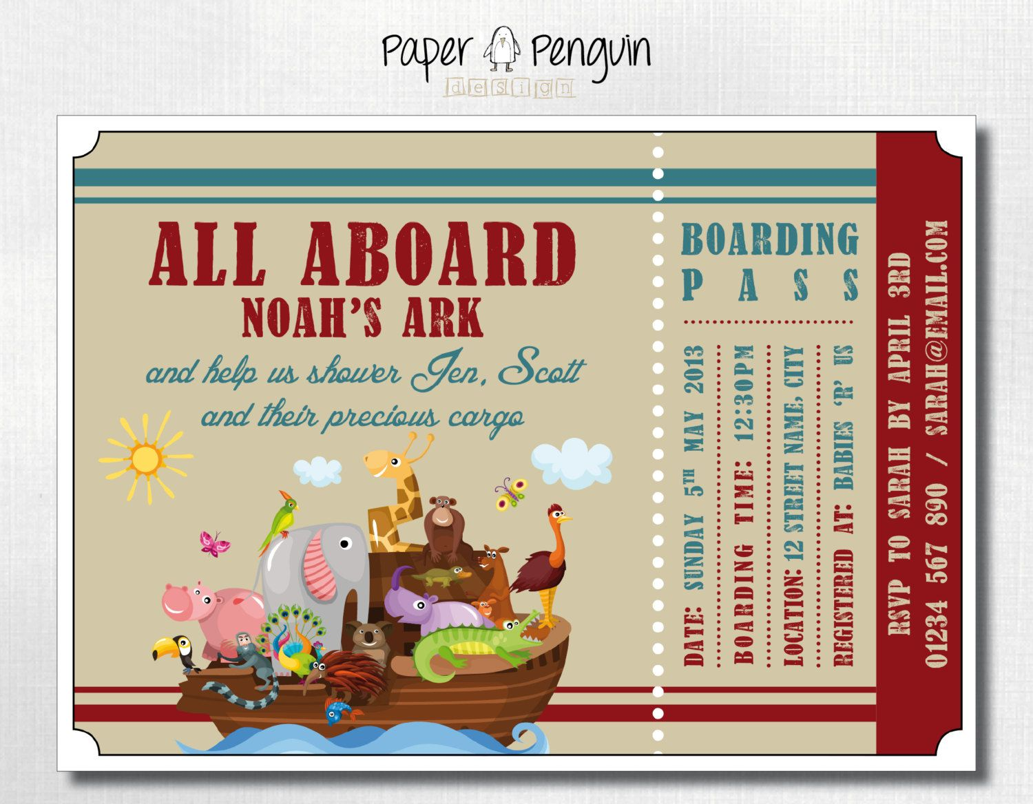 Noah S Ark Baby Shower Invitations Invitation Printable Digital Invites