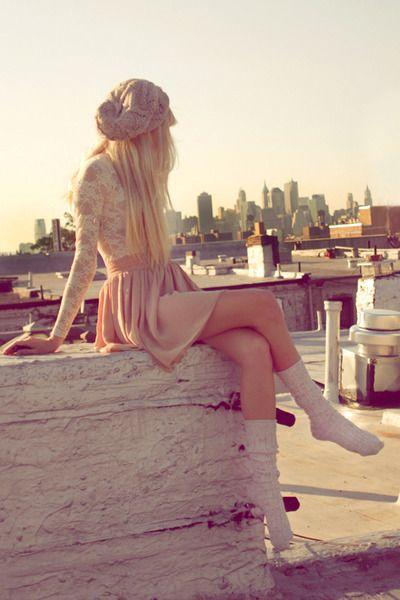 lace bodysuit, peach skirt, gray knee high socks, slouchy nude hat.