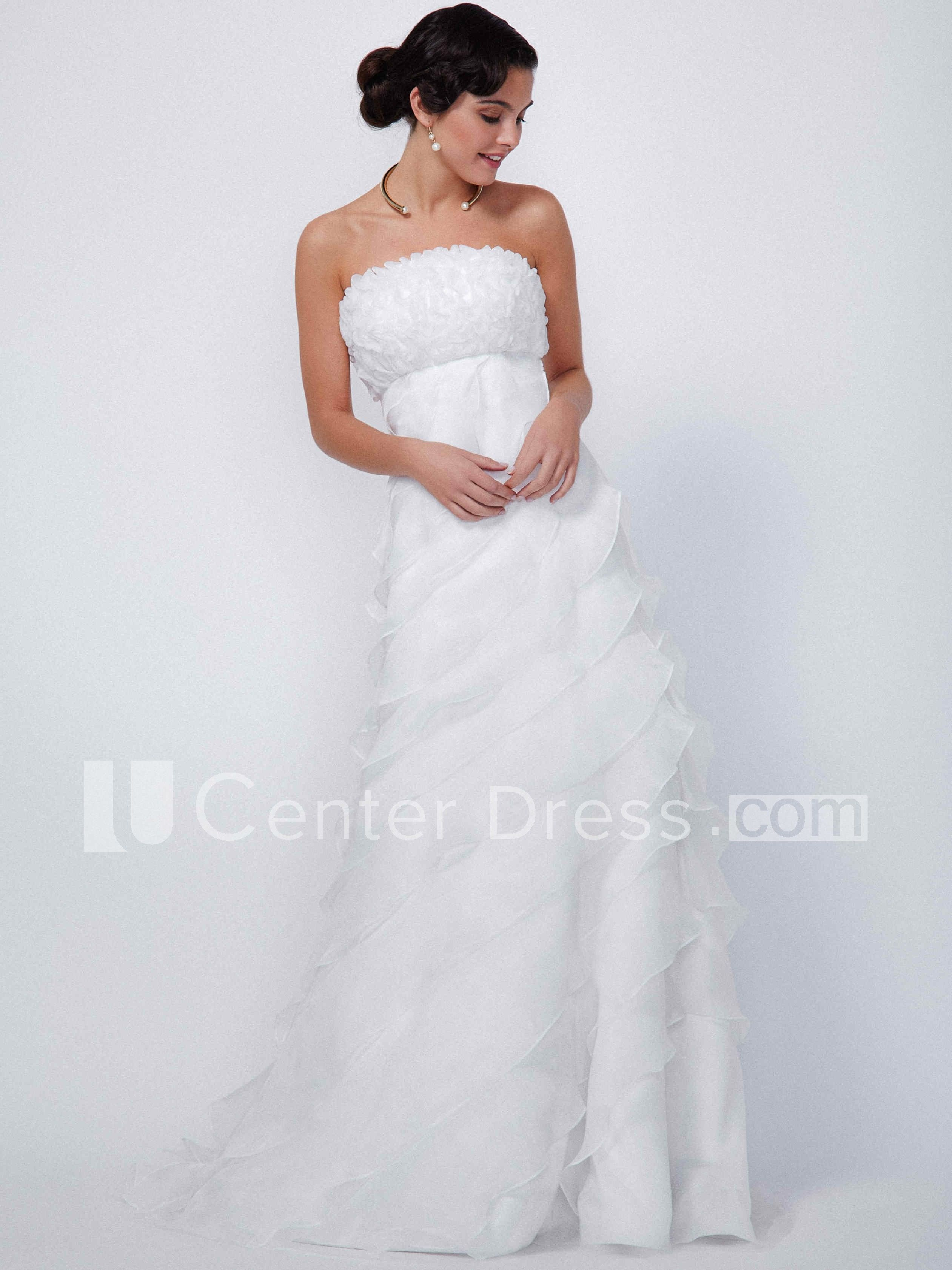 $151.29-Sexy A-Line Sleeveless Strapless Ruffled Long Organza Wedding Dress. http://www.ucenterdress.com/a-line-sleeveless-strapless-rufflesd-floor-length-organza-wedding-dress-with-tiers-pMK_100141.html.  Shop for Best wedding dresses, Lace wedding dress, modest wedding dress, strapless wedding dress, backless wedding dress, wedding dress with sleeves, mermaid wedding dress, plus size wedding dress, We have great 2016 fall Wedding Dresses on sale. Buy Wedding Dresses online at…