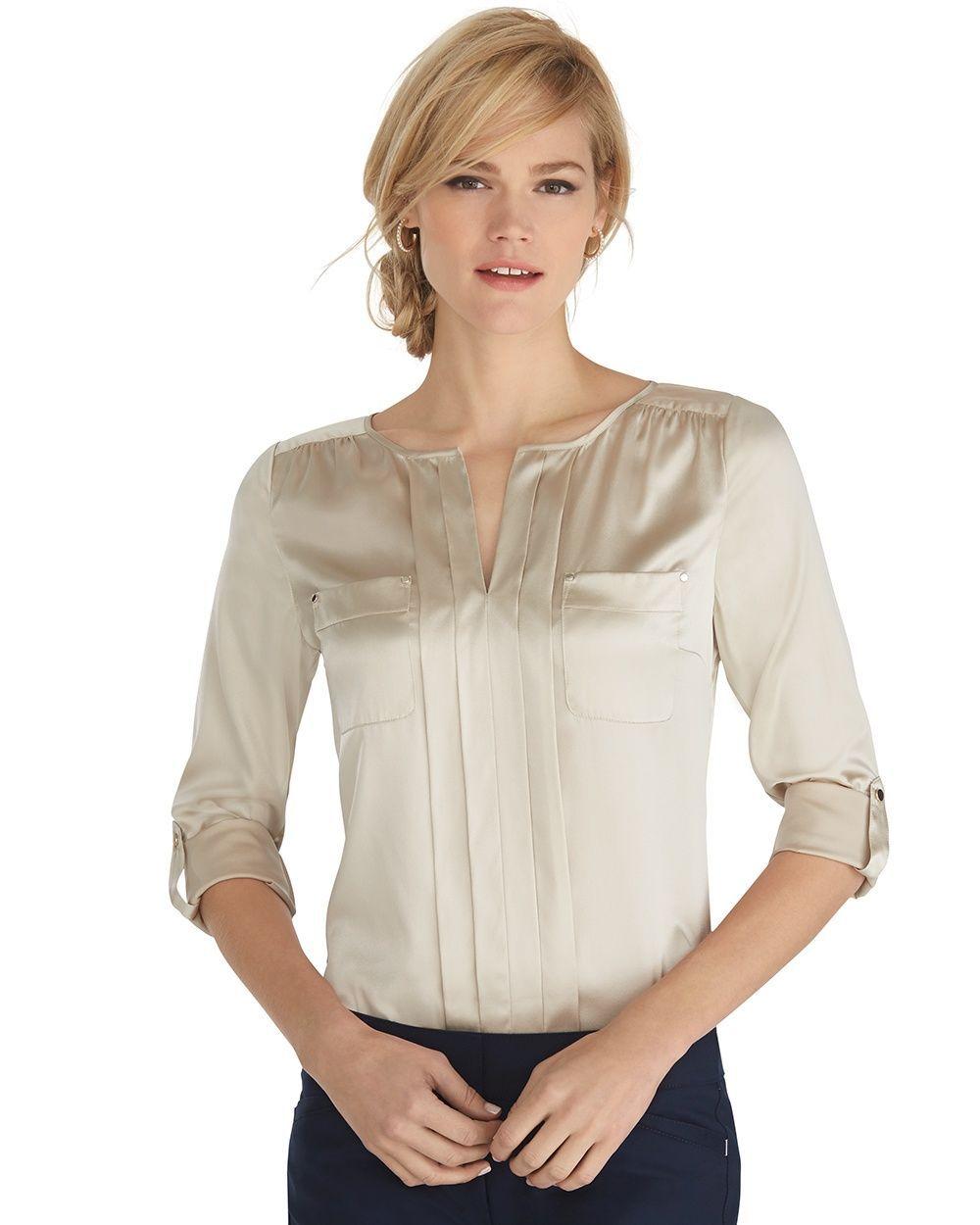 Long Sleeve Silk Front-Pocket Blouse