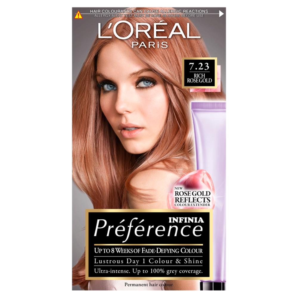 L Oreal Paris Preference Infinia 7 23 Rich Rose Gold Hair Dye 1 Kit Dye Gold Hair Infinia Kit Loreal Pa In 2020 Rose Gold Hair Dye Rose Gold Blonde Gold Hair Dye