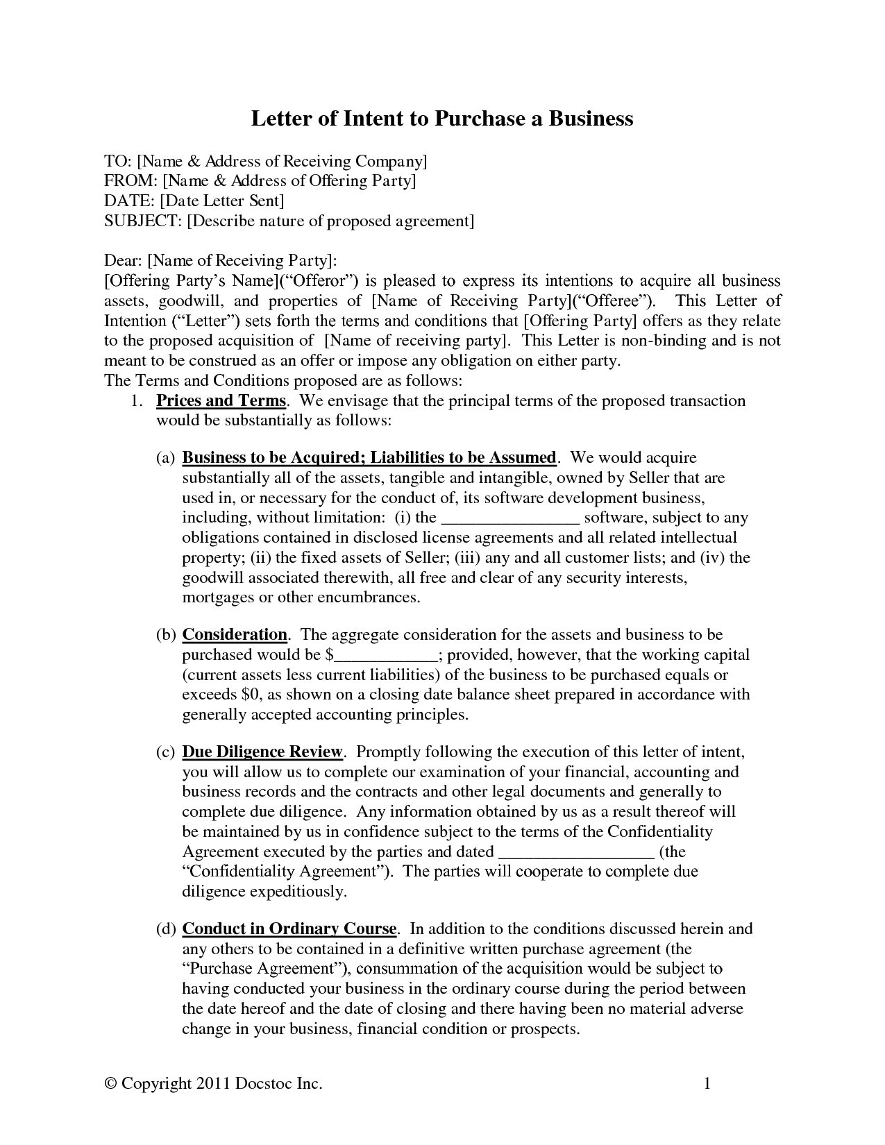 Letter Of Intent For Business Purchase Sample Template  Letter Of Intent To Purchase Business Template