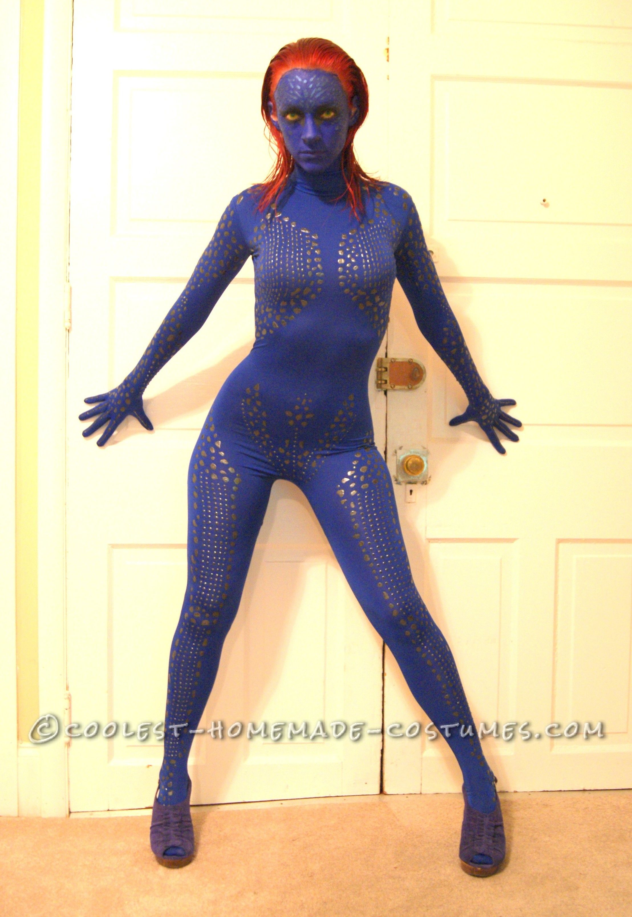 sexy homemade mystique costume from x men - Homemade Men Halloween Costumes