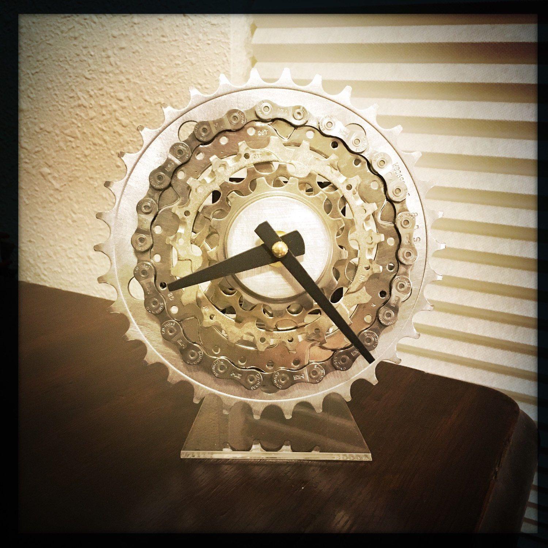 bike gear desk clock steampunk decor bike gift for men mountain biker gift industrial desk clock steampunk desk clock bicycle clock