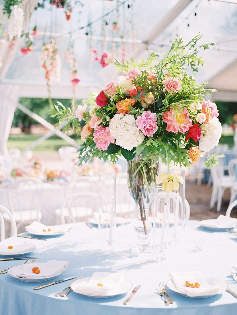 Fort Worth Wedding With Drippy Florals A Punch Of Citrus Ruffled Fort Worth Wedding Blue Table Linens Wedding Wedding