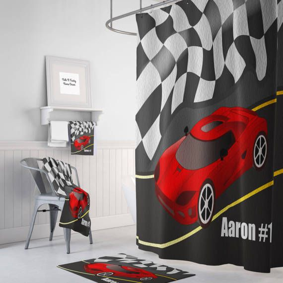 Personalized Race Car Shower Curtain, Bath Mat , Towels , Racing Fan ...