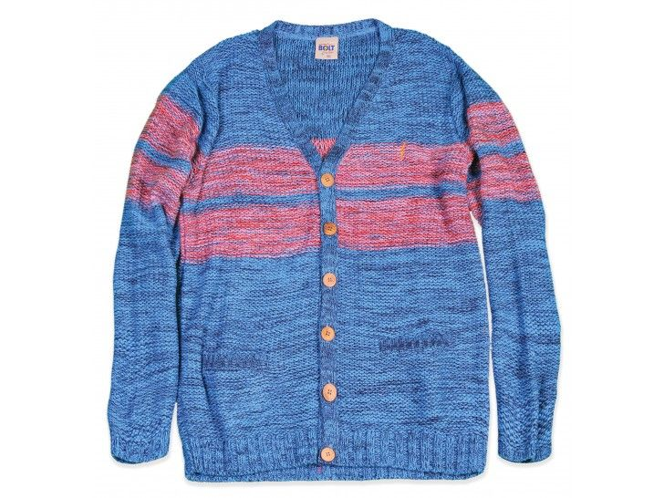 Reverse Knitted Striped Cardigan Dusk Blue