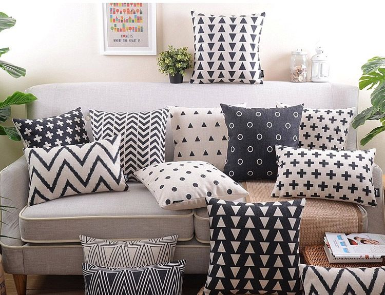 18 Black White Geometric Cotton Linen Cushion Cover Ikea Sofa
