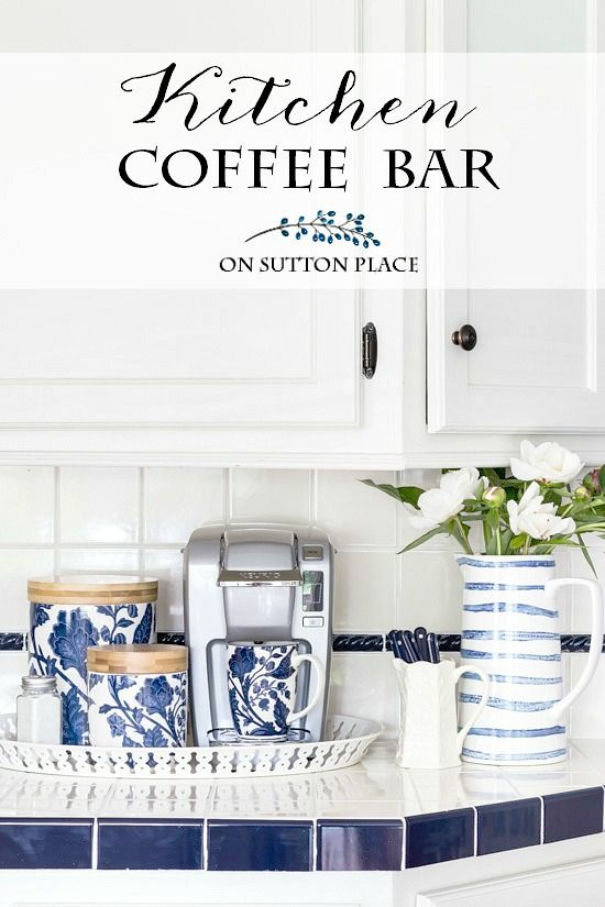 Set up this Easy Kitchen Coffee Station in minutes and on a budget! Includes suggestions for countertop storage and organization. #coffeebar #coffeestation #coffeemug #bottlerack #mugrack