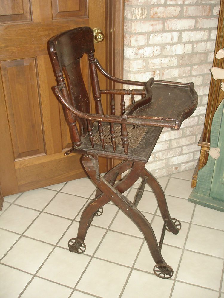 Antique 1900 S Carved Oak Baby Highchair Stroller Convertible