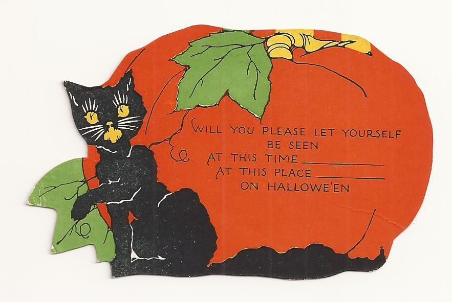 VINTAGE 1930\'s HALLOWEEN Party Invitation Card with Black Cat ...