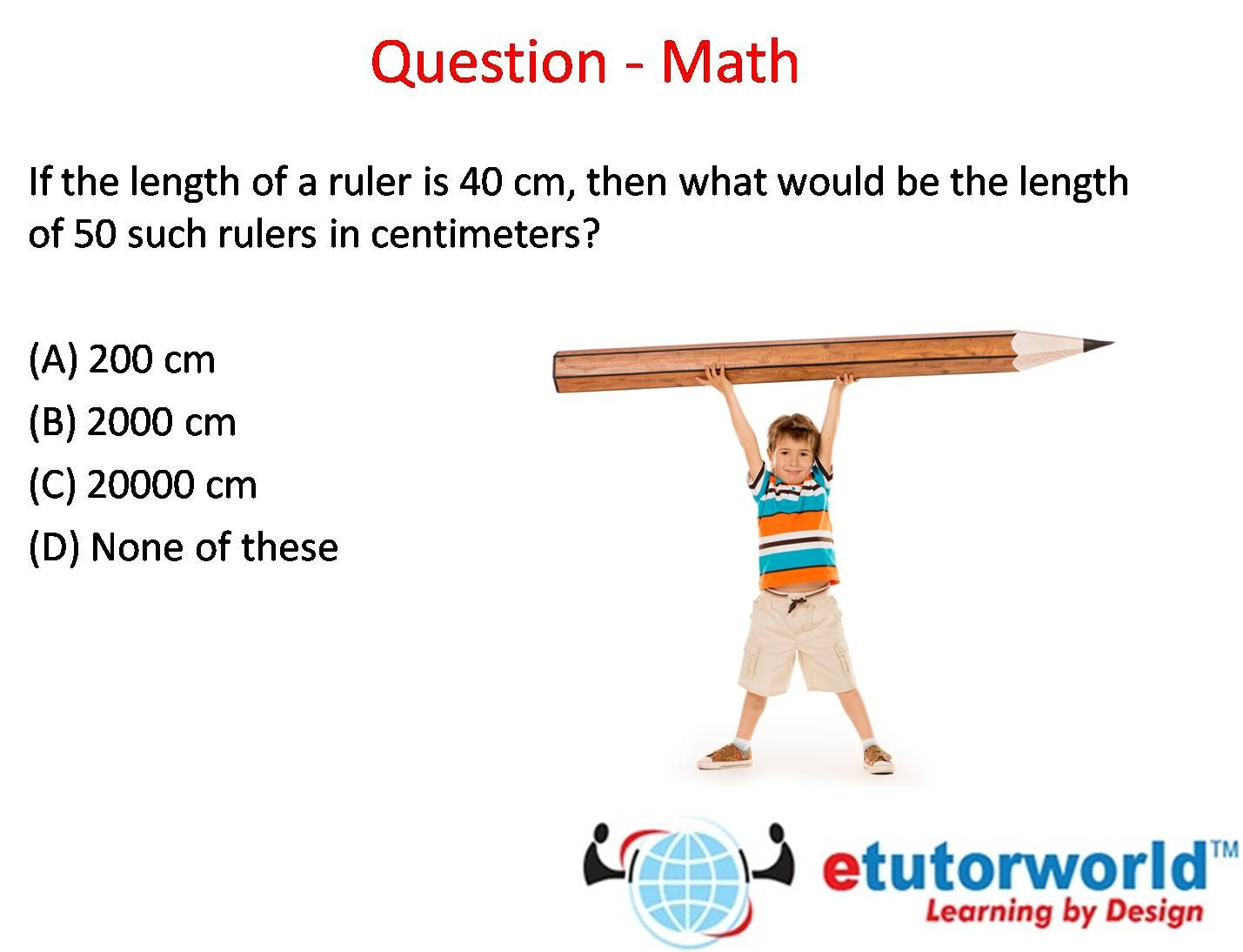 Question of the Day via eTutorWorld Inc. Learn about measurements ...
