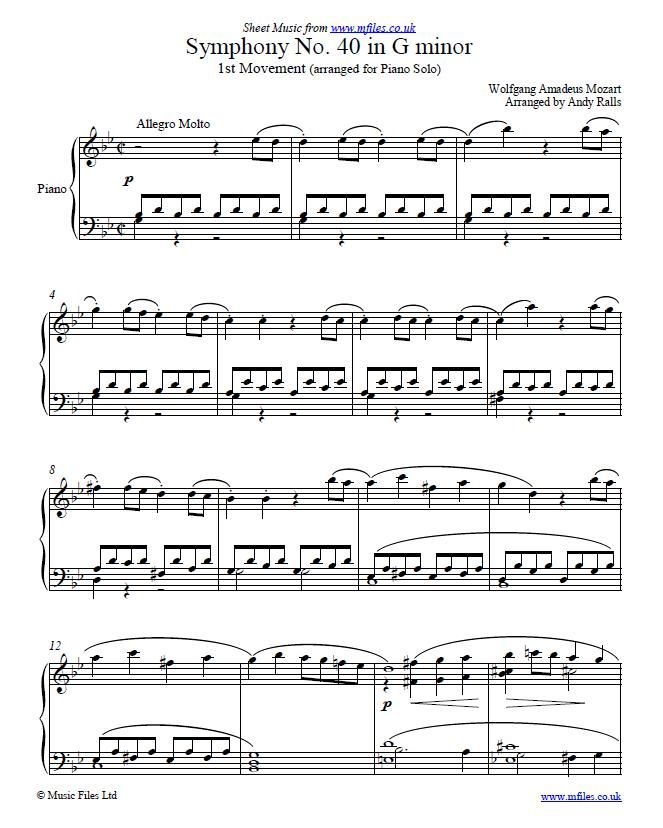 Symphony No.40 In Gm By W. A. Mozart (1st Movement
