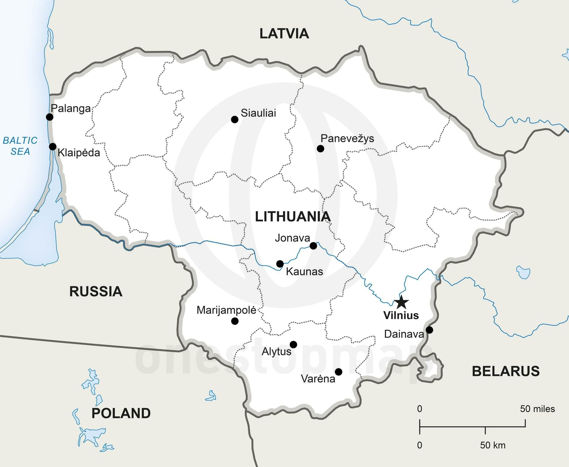 Vector Map of Lithuania Political Lithuania