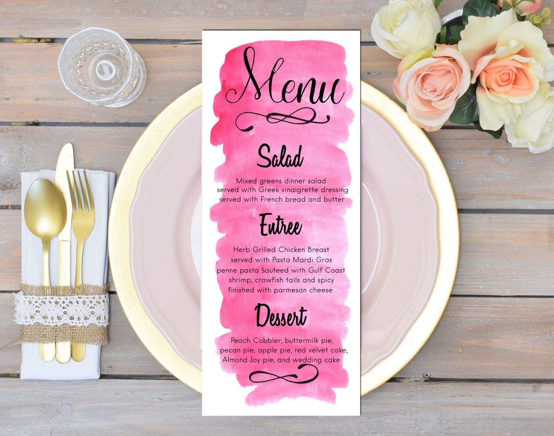 Pink menu card Watercolor menu printable Summer wedding menu ...