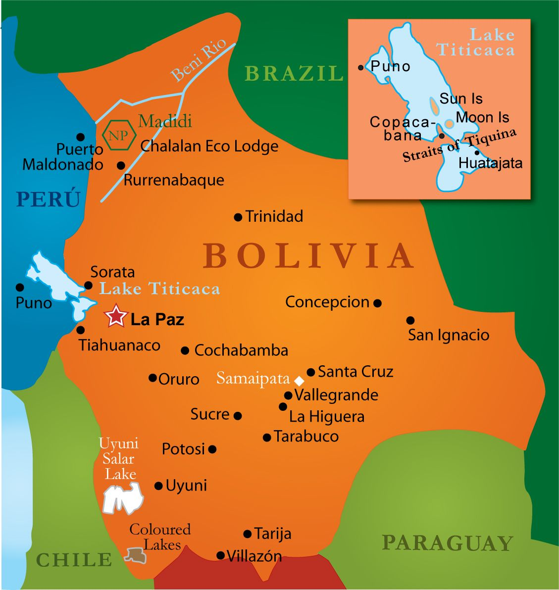 Tourist Map And Information Of Bolivia Tourismbolivia South - Map of bolivia