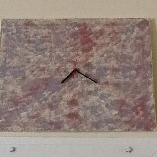 Functional Art  One broken Walmart clock One painting canvas Left over wall paint